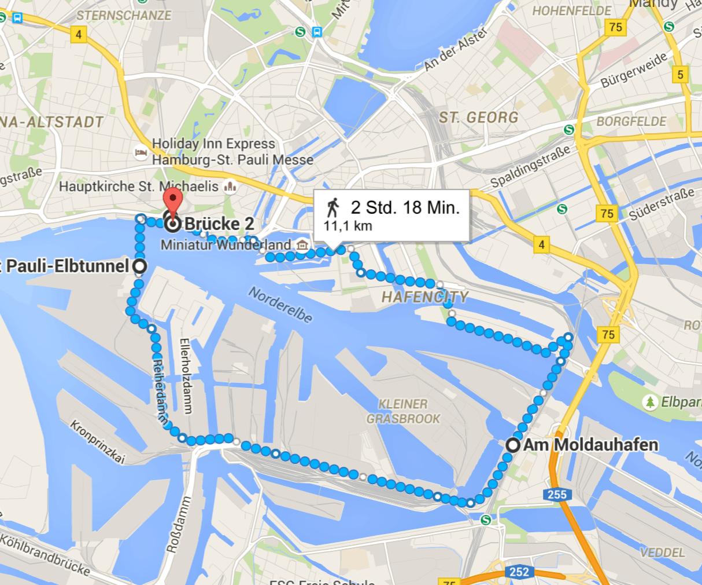 Laufen in Hamburg: Route Hamburger Hafen