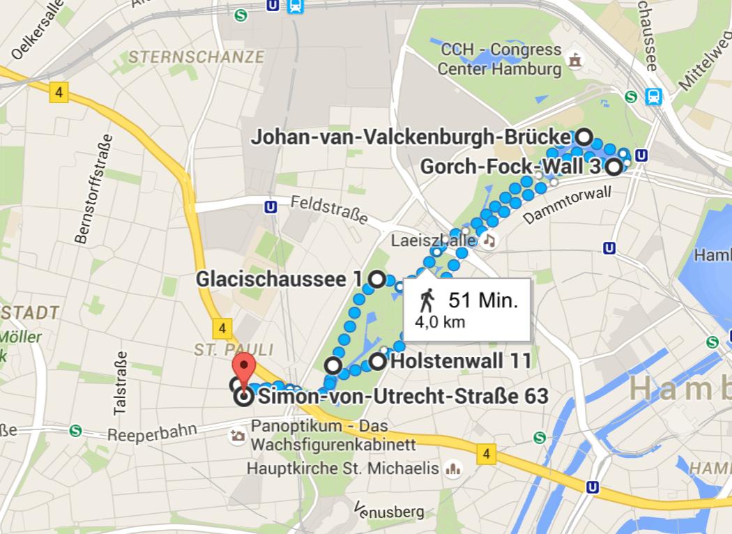 Laufen in Hamburg: Route Plantenunblomen